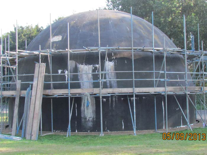 Scaffolding erected (courtesy Barry Betts)