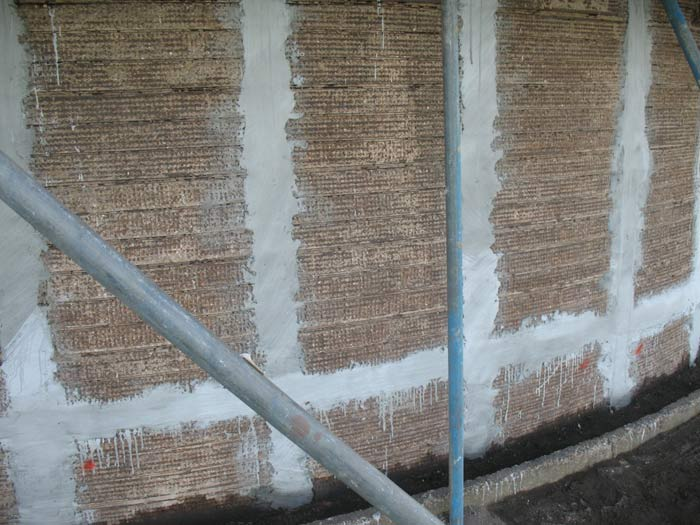 Mortar beds applied for the ICCP annode ribbons to prevent rusting